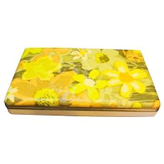 Mele Flower Power 1970s Green Yellow Jewelry Box