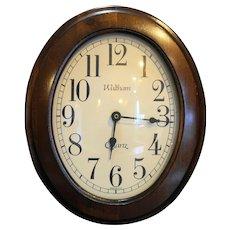 Waltham Walnut Oval Wall Clock Spartus 5351