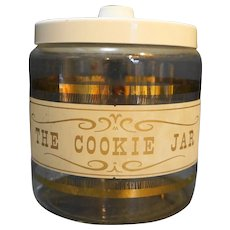 Pyrex Cookie Jar Glass White Lid Gold Wood Decoration