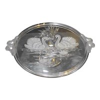 Mikasa Swan Swans Frosted Glass Cake Stand Pedestal Plate Walther Germany