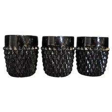 Tiara Black Cameo Glass Indiana Diamond Point Short Tumblers Set of 3