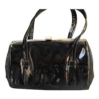 Black Patent Vinyl Purse Handbag