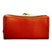 Red Vinyl Black Trim Wallet French Clutch Purse