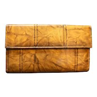 Di Lido Ranchero Cowhide Brown Leather Wallet French Clutch