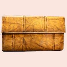 Di Lido Ranchero Cowhide Brown Leather Wallet French Clutch