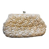 Beige Raffia Handbag Purse Clutch Ritter Made in Japan.