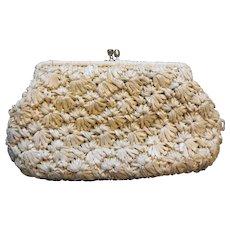 Beige Raffia Handbag Purse Clutch Ritter Made in Japan.