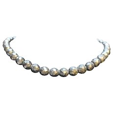 Black Glass Choker Faceted Bead Necklace