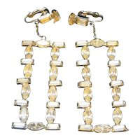 Clear Rhinestone Chandelier Earrings Clip Backs