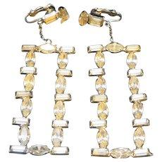 Clear Rhinestone Chandelier Earrings Clip Backs