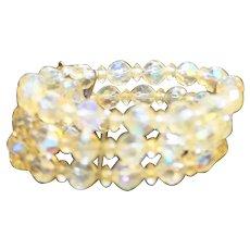 Aurora Borealis Crystal Bead Triple Strand Cuff Bracelet