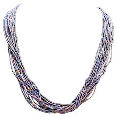 Midnight Blue Iridescent Seed Beads Multistrand Necklace