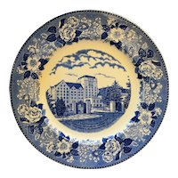 Indiana Memorial Union Biddle Continuation Center Blue Souvenir Plate Adams Potteries Staffordshire England