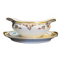 Vignaud Freres Limoges France Bird of Paradise Floral Gravy Boat