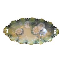Reinhold Schlegelmil RS Germany Scalloped Green Airbrushed Handpainted Celery Dish