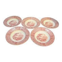 Royal Staffordshire Jenny Lind Red Pink Transfer Soup Bowls Set of 5