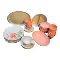 Prolon Leonora Pink Roses White Melmac Set 38 Pieces