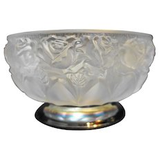William Adams Lead Crystal Roses Frosted Serving Bowl Silverplated Base