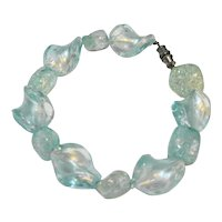 Ice Blue Art Glass Twisted Bead Bracelet