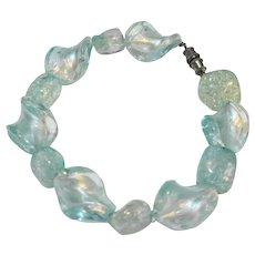 Ice Blue Art Glass Twisted Bead Bracelet