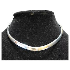 Sterling Torque Necklace Collar Signed KAR