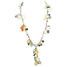 Semi Precious Hardstone Polished Nugget Glass Beads Fringe Dangle Necklace 26 IN Bracelet Set