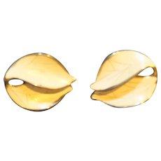Marino Cream Enamel Gold Tone Leaf Shaped Clip Earrings