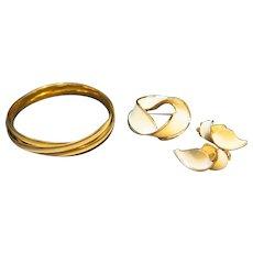 Kramer Cream Enamel Gold Tone Demi-Parure Bracelet, Brooch, Earrings
