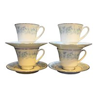 Noritake Milford Cups and Saucers Set of 4
