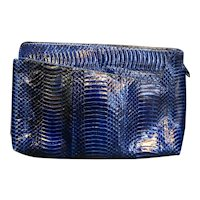 J Renee Snakeskin Purse Clutch Midnight Blue 1980s