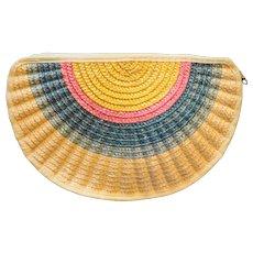 Orsini Straw Rainbow Half Circle Purse Summer