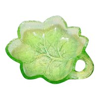 Depression Glass Uranium Apple Green Leaf Shaped Nappy Dish