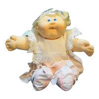 Vintage Original Cabbage Patch Kid Blond Hair Blue Eyes Pink Dress