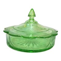 Green Depression Glass Candy Dish Cut Flowers Scalloped Lid
