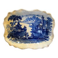 Flow Blue Ironstone Italianate Romantic Castle Mountain Lake Scene Tray Bowl