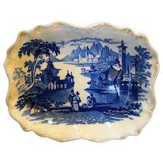 Flow Blue Ironstone Italianate Romantic Castle Mountain Lake Scene Tray Bowl