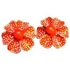 Red White Enamel Hand Painted Flower Earrings Clips
