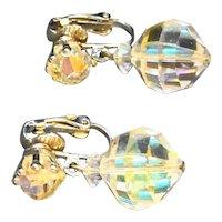 Aurora Borealis Faceted Crystal Bead Clip Drop Earrings
