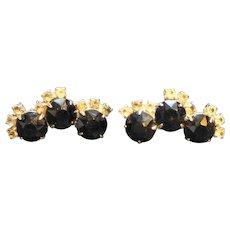 Black Rhinestone Clip Earrings Large