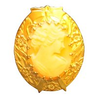 Cameo Cream Peach Carved Shell Oval Pin