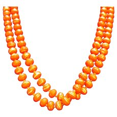 Red Gold Swirled Plastic Beads Long Necklace 52 IN