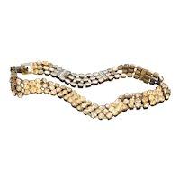 Rhinestone Bracelet Narrow Wave Articulated Triple Strand