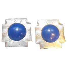 Reja Signed Silver Blue Square Clip Earrings