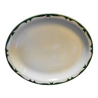 Jackson China Restaurant Ware Green Scroll Rim Oval Platter Plate 11 IN