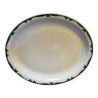 Jackson China Restaurant Ware Green Scroll Rim Oval Platter Plate 11 IN