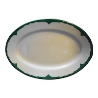 Shenango China Restaurant Ware Green Scroll Band Oval Platter 13 IN