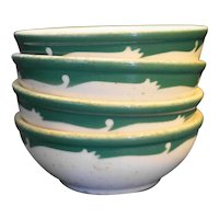 Syracuse Wintergreen Green Scroll Grey Speckled Coupe Cereal Bowls Set of 4