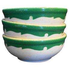 Shenango China Restaurant Ware Green Scroll Band Coupe Cereal Bowls