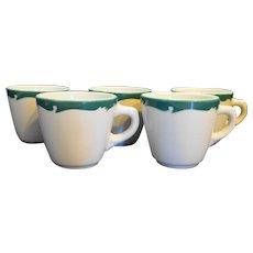 Syracuse Wintergreen Cups Mugs Green Scroll Rim Restaurant Ware Set of 6