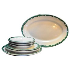 Sterling China Green Scroll Crest Restaurant Ware 7 Pieces Set Plates Platter